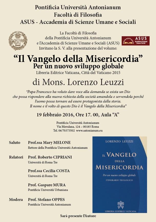 """Presentazione de """"Il Vangelo della Misericordia"""" - Pontificia Università Antonianum"""