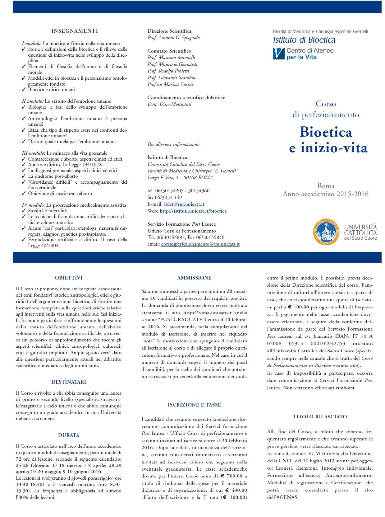 Corso di perfezionamento Bioetica e inizio-vita